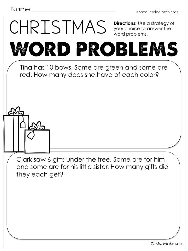 FREE - Open-ended word problems