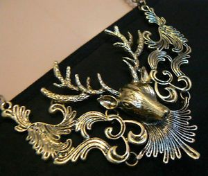 Stag-Head-Necklace-Kitsch-Gift-For-her-Unusual-Christmas-Party-Night-Out-Sister