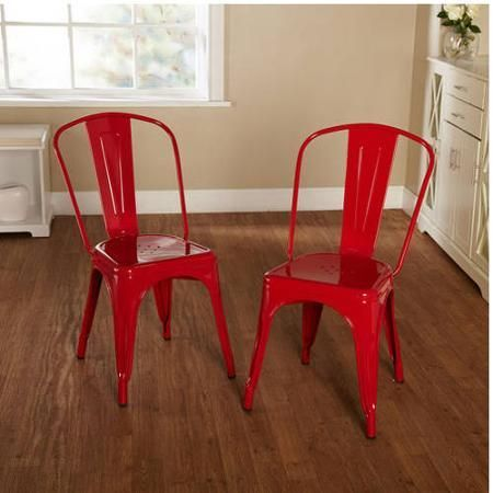 Patio Furniture Garden Chair Set of 2 Metal Red - Chairs