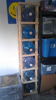 5 gallon drinking water storage. Get's all those jugs off of the floor and helps organize our garage.