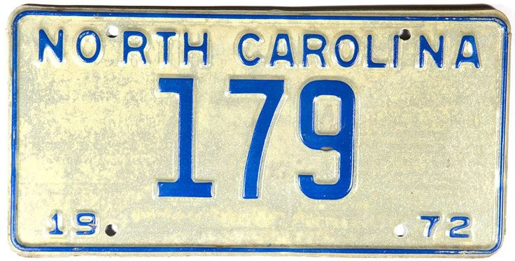 1972 North Carolina Low Number License Plate