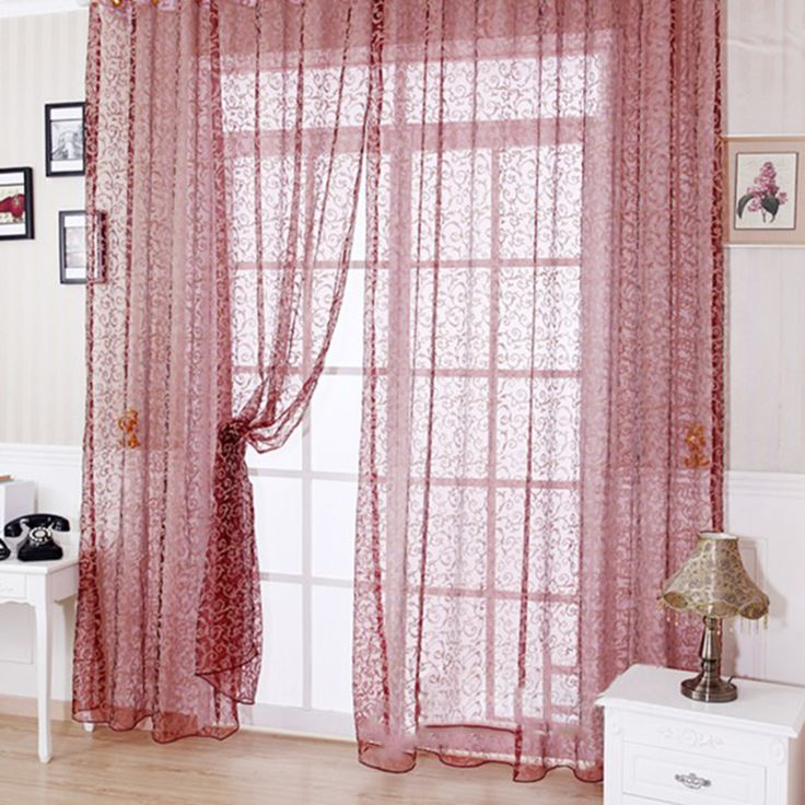 Home Decoration Window Voile Curtains 100 * 200 CM Blinds Sheer Tulle Window For Living Room Printed Valance Curtain #Affiliate