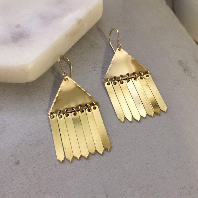 Brass Fringe Earrings Gold Dangle Earrings Geometric Earrings In 2020 Gold Earrings Dangle Fringe Earrings Geometric Earrings