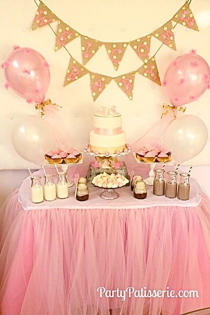 Pink Gold Party With Tulle Pom Balloons And Tulle