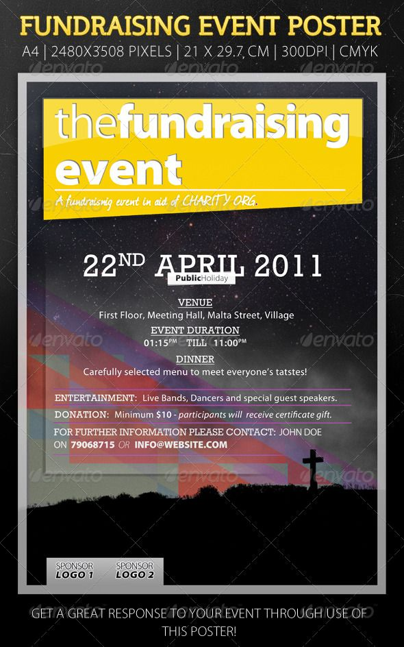 modern flyer for fundraising event texts flyers and fonts