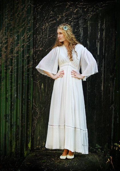 Angel sleeve Bohemian vintage 1970s wedding dress