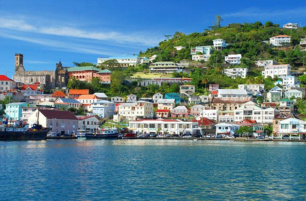 One of the prettiest port towns in the Caribbean - the capital city of St. George's on the island of Grenada