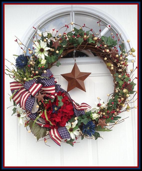 Patriotic Wreath Americana Wreath 4th of July Wreath by JWDecor