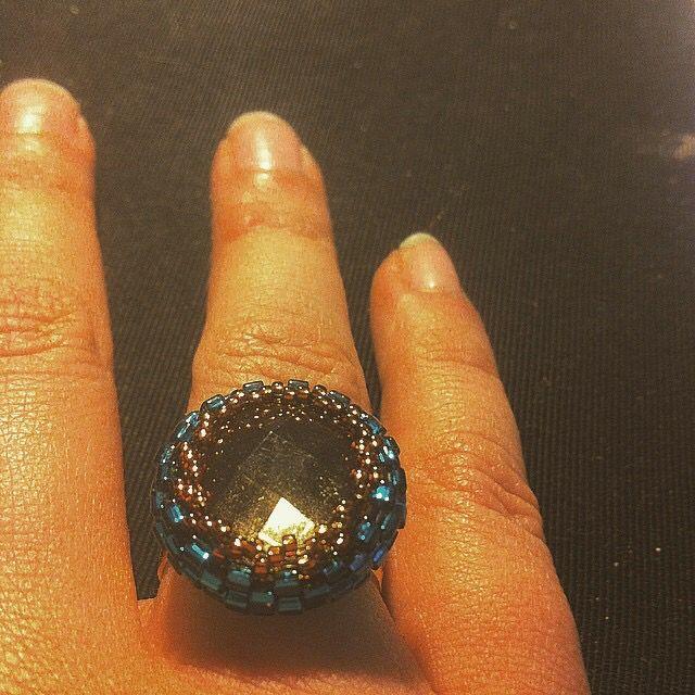 Cabochon ring beaded peyote