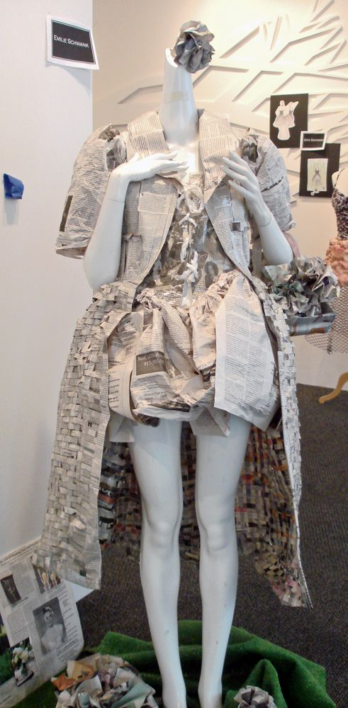 "The dress made of newspapers from the exhibit ""Trash Chic"" at the Art Institute, NYC."