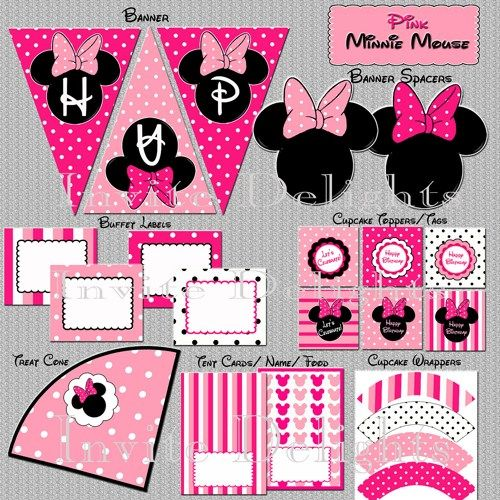 Minnie Mouse Birthday Printable Party Package Collection ~ You Print | TreasuredInvitations - Digital Art  on ArtFire