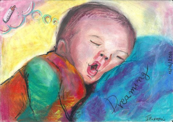 Cute baby sleeping and dreaming of milk bottle  by PapeMoe on Etsy
