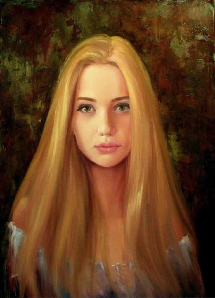 Художник Полина Сахарова картина искусство урок научиться рисовать маслом на холсте живопись арт холст масло акварельная заливка мастихин яркая портрет девушки волосы глаза как научиться рисовать губы лицо человека