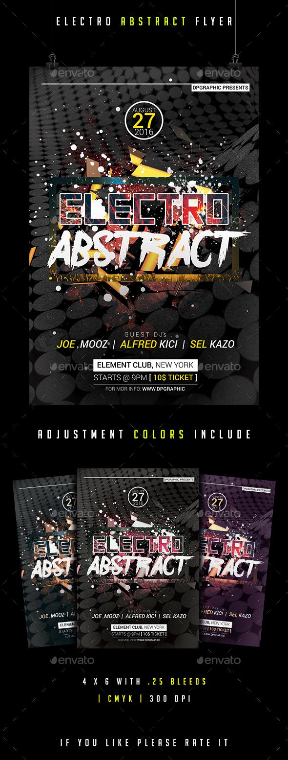 Electro Abstract Flyer — Photoshop PSD #flyers #textures • Available here → https://graphicriver.net/item/electro-abstract-flyer-/16928132?ref=pxcr