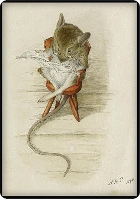 1890 'Spectacles Mouse Reading a Newspaper' jj