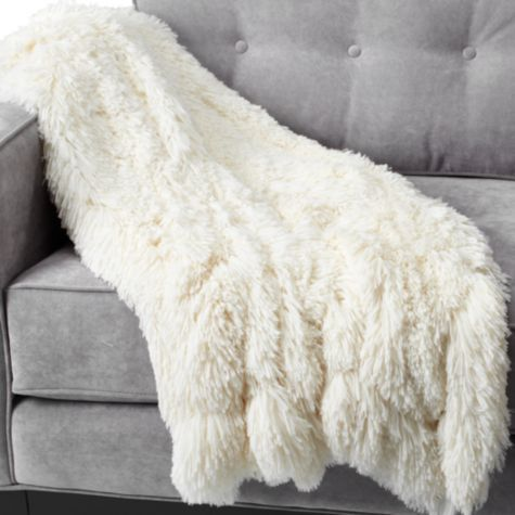 "Omg--it turns out these are the warmest, softest, most fabulous throws you can ever own. (For the conscience-riddled: they're faux) We have two, one light gray/wolf, and one darker faux ""mink""--and I'm holding out for three more bc my kids keep snagging them. <3    Ludlow Throw - Winter White"