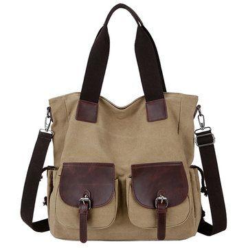 Women Large Capacity Canvas Multi-pocket Shoulder Bags Crossbody Bag Casual Handbags