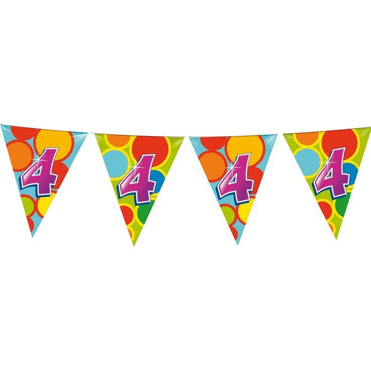 Leuke kleurrijke vlaggenlijn voor iedere verjaardag!Afmeting:  lengte 10 meter - Vlaggenlijn 4 Jaar, 10mtr.