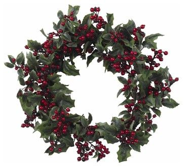 Holly Berry Wreath - contemporary - Wreaths And Garlands - ivgStores