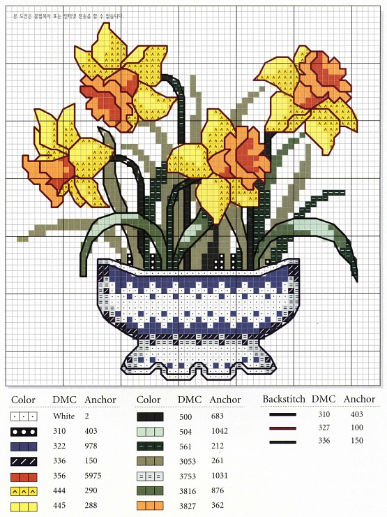 daffodils in vase cross stitch