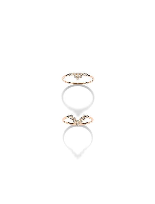 CHARNIERES rings, rose gold 18K with brilliant-cut diamonds