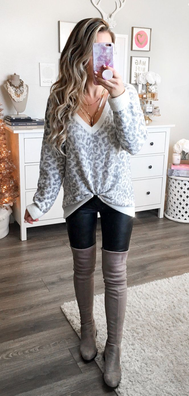 #winter #outfits grey leopard print v-neck sweater and grey thigh-high leather boots. Click To Shop This Look.