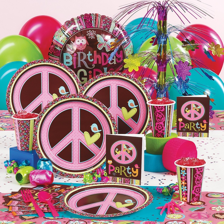 Hippie Chick Party Supplies-peace signs and owls! Molly's in heaven!