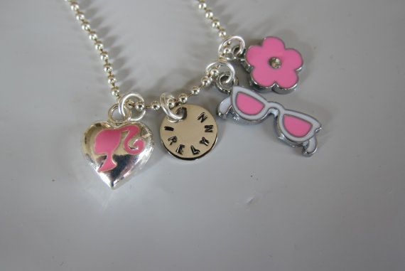 Personalized Barbie Fashion Girl's charm necklace for little Fashionistas from the belle bambine children's line.