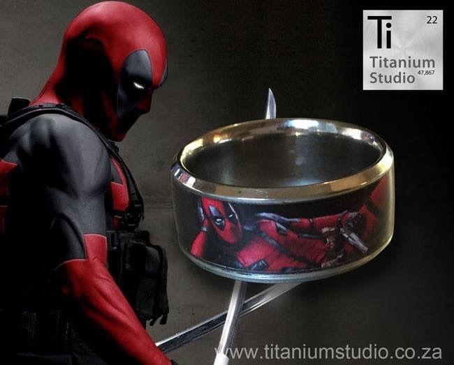 A titanium comic strip ring dedicated to our favorite superhero- Deadpool.