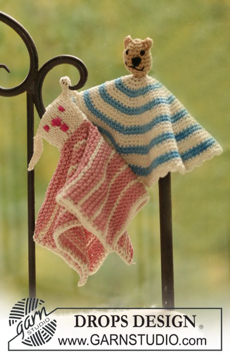 "DROPS knitted and crochet small blankets with animal motifs in ""Muskat"". ~ DROPS Design"