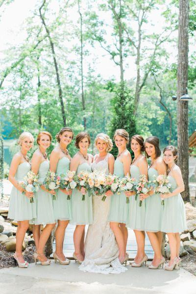 Mint bridesmaid dresses: http://www.stylemepretty.com/georgia-weddings/2014/10/13/rustic-elegant-georgia-wedding-at-indigo-falls/   Photography: Rustic White - http://www.rusticwhite.com/