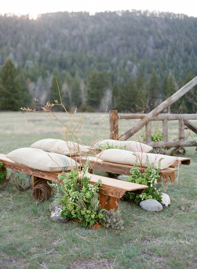 Ranch style outdoor wedding seating: http://www.stylemepretty.com/2015/12/01/laurie-arons-wedding-planner-masterclass-part-ii/ | Photography: Jose Villa - http://josevilla.com/