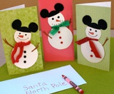 Disney Holiday Crafts:: Disney Christmas, Idea, Christmas Crafts, Snowman Card, Mickey Mouse, Christmascard, Christmas Card, Card Crafts, Christmas Party