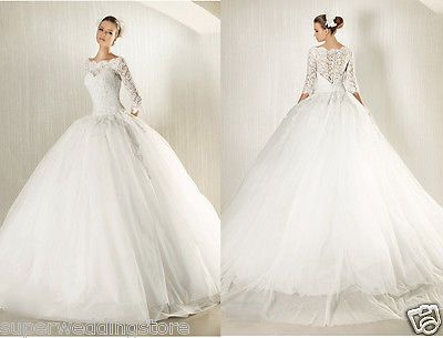 New Modest Long lace sleeves Ball Gown Wedding Dress Bridal Gown Custom people who love lace.