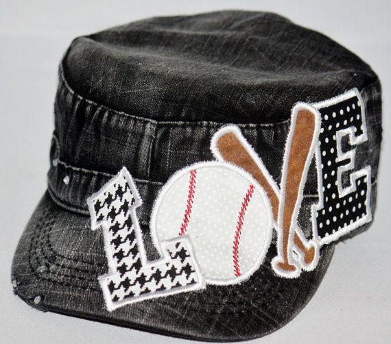 Embroidered appliqued baseball LOVE on brushed black by SpiritLoft, $29.99