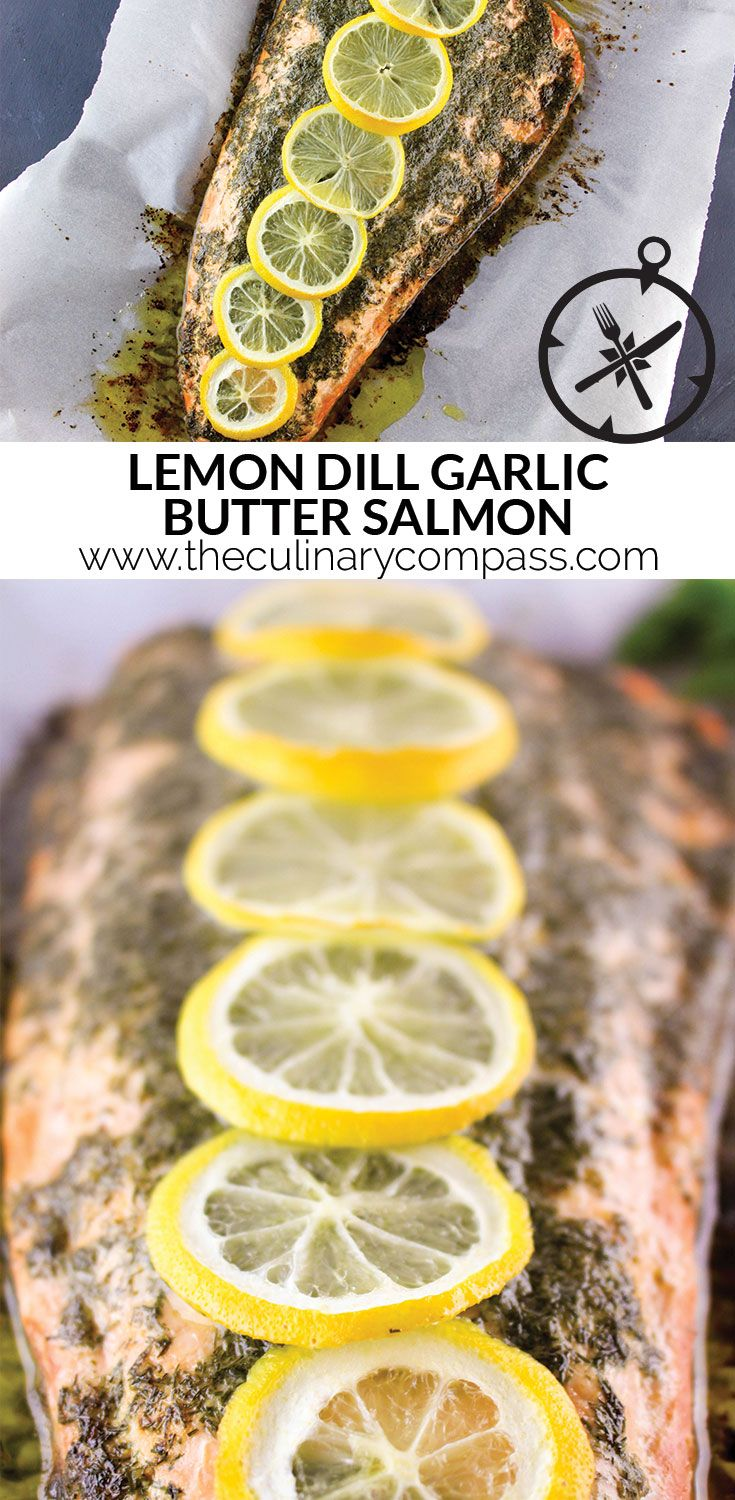 If you're hosting a dinner party soon or just want an easy meal this week, try this Lemon Dill Garlic Butter Salmon! Fancy enough to impress your guests, but so easy to make!
