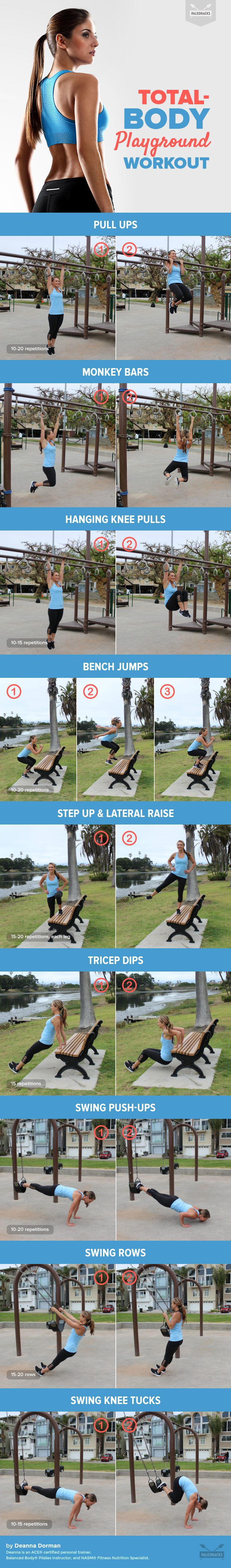 With all of the bars, benches, and monkey bars, it turns out that playgrounds make for the perfect workout! And no gym membership is required. For the full workout visit us here: http://paleo.co/playgroundwod