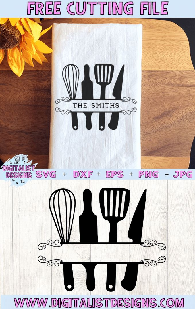 Download Free Kitchen Utensil Monogram SVG in 2020 | Cricut svg ...