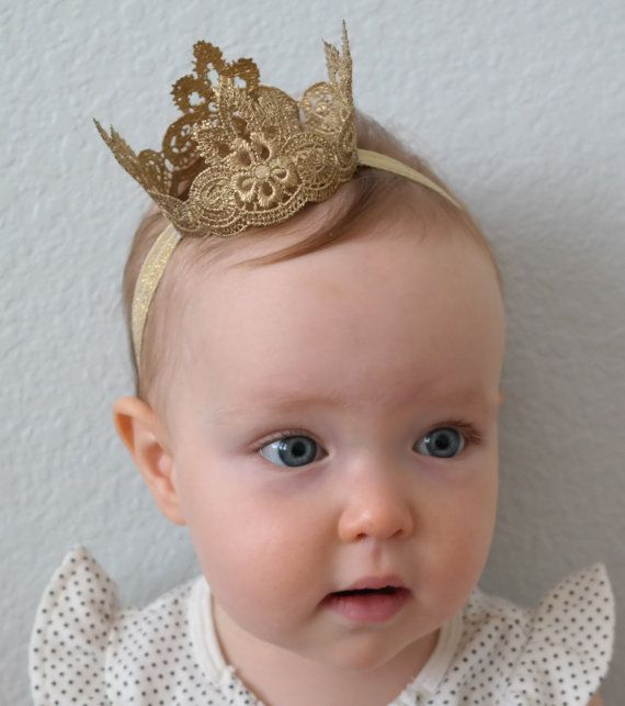 Regal Lace Princess Crown Small Baby Crown by PrideandPrincesses, $11.50
