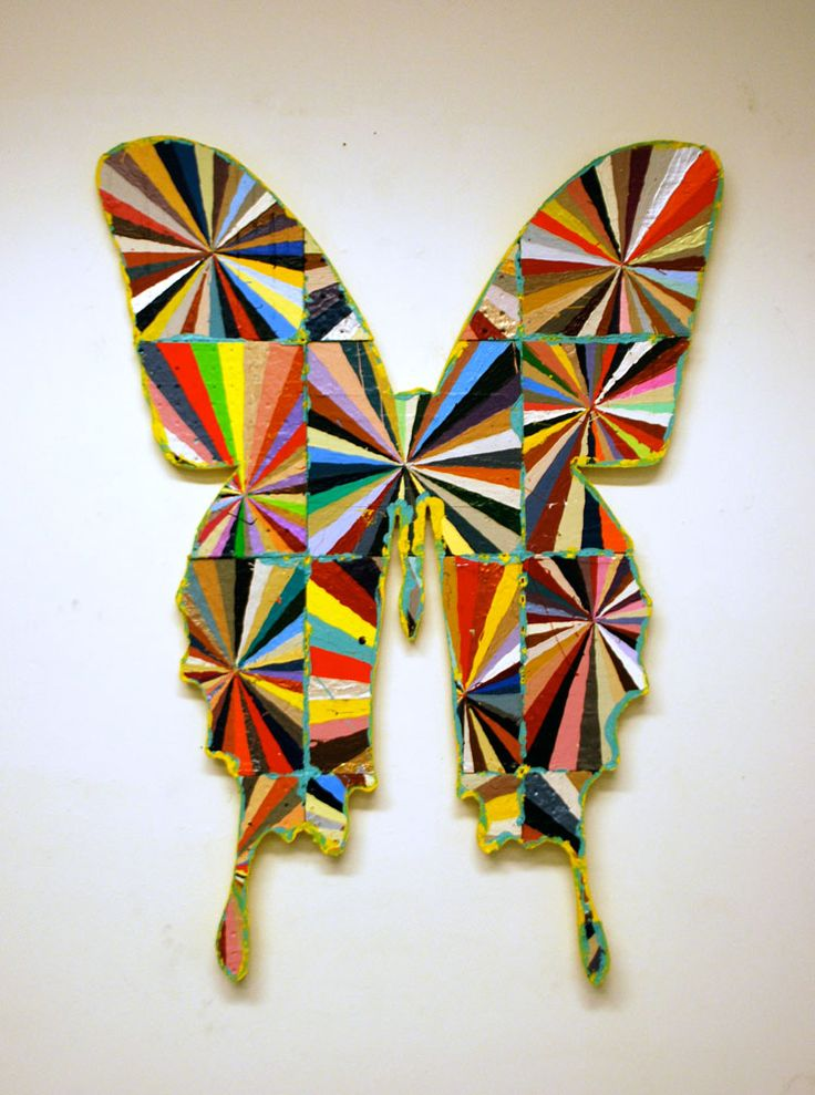 BART VARGAS.com - BUTTERFLIES. Could decoupage the kids Indy patterns on to a cut out shape like this could be a cool wall hanging for the group project