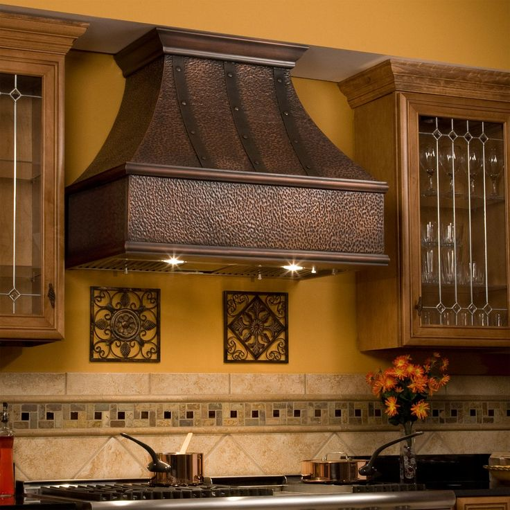 """30"""" L x 42"""" H Tuscan Series Copper Wall-Mount Range Hood - Riveted Bands - Hood Only"""
