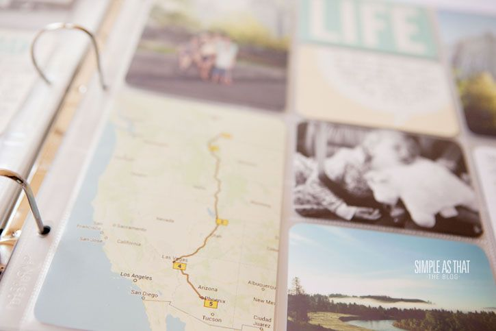 used a trip planning website to generate the map of our travels and then printed it as a 4x6 photo