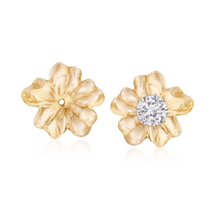 Highly detailed depicting each petal on the flower, these 14kt yellow gold earring jackets remind us of an eternal spring. Standard posts slide through the hole at the center of each jacket. 14kt yellow gold flower earring jackets. Free shipping & easy 30-day returns. Fabulous jewelry. Great prices. Since 1952.