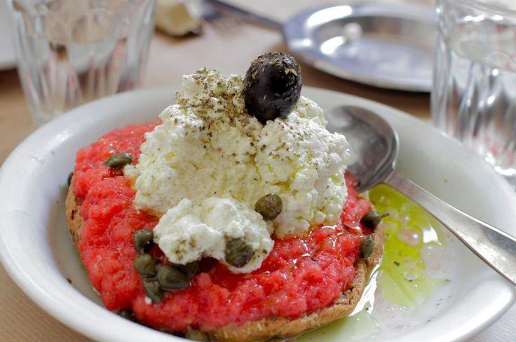 Delicious Greek ntakos (dakos) with feta, myzithra, tomatoes and capers. Photo Cilla Mattheiszen/Athens