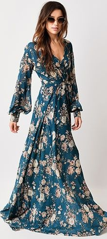 1970s Style Teal Rose Floral Long Sleeve Maxi Dress $98.00