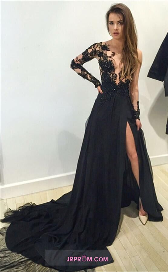 Long Sleeves Prom Dresses With Slit And Applique Tulle Item Code:#JRPTPQS7BH