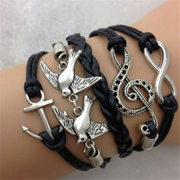 Chic Pigeon Note Anchor Layered Bracelet For Women, AS THE PICTURE in Bracelets | DressLily.com