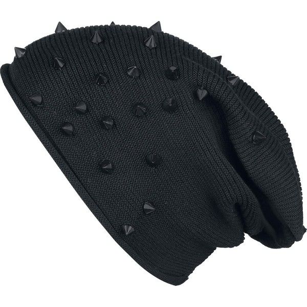 Studded Light Beanie  Ahskdishdlokkl there is spikes on this black beanie. <3