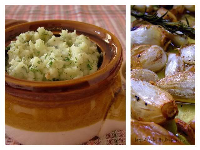 Картофельное пюре с печеным чесноком и зеленью