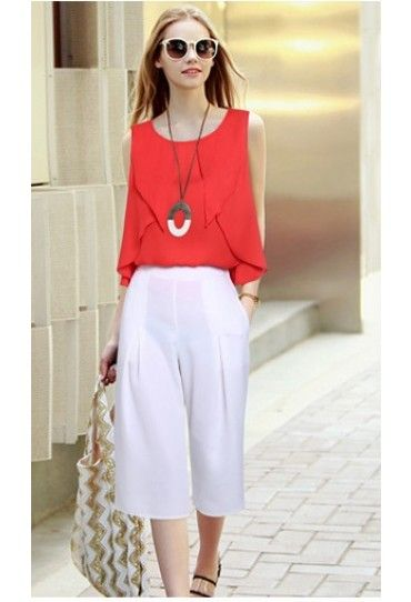 #Set #dama: #bluza eleganta si pantaloni albi